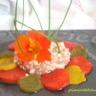 Carpaccio de poivrons et son tartare de tomate au chevre