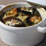 Cocotte d'aubergine et de courgette au saumon et au haddock à la crème d'endive