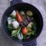 Cocotte de légumes de printemps brochette et caviar d'escargot