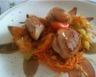 Coquilles Saint-Jacques à la fondue de carottes et de poireau