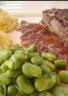 Côte de boeuf sauce échalotte ses fèves poêlées et ses pommes duchesses