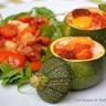 Courgettes rondes farcies aux oeufs tomates poivrons et chorizo