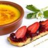 Crème catalane au safran et brioche perdue betterave rouge et fraise