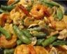 Crevettes aux champignons et pois gourmands crème aux aromates