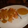 Crevettes et boudins blancs sautés au curry et leur Bisque de Crevettes façon Pascal
