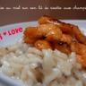 Crevettes sautées au miel sur leur lit de risotto aux champignons