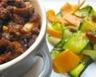 Crumble de poulet au pain d'épice et tagliatelles de légumes