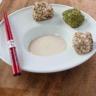 Cubes de thon blanc panure de quinoa sésame/wasabi mayonnaise Amora à la sauce soja