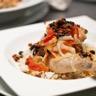 Cuisse de Poulet aux Tomates séchées & Olives Noires Légumes du Moment & Riz aux Cheveux d'Ange
