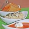 Déclinaison d'amuse-bouches autour du Roquefort Papillon Velouté tiède de tomates légèrement conf...