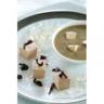 Dés de foie gras aux éclats de chocolat noir et velouté lentilles/foie gras avec ses cubes de Sau...