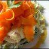 Dos de cabillaud à la vapeur marinade mandarine fondue de poireaux et tagliatelles de carottes