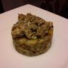 Emincé d'agneau au thym et à la crème d'ail sur son écrasé de pommes de terre