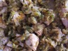 Emincé de poulet miel/amandes sur lit de courgettes
