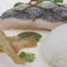 Filet de bar du bassin d'Arcachon et risotto aux herbes citron vert et piment d'espelette