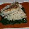 Filet de cabillaud sur risotto et bisque de homard