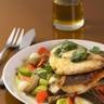 Filet de daurade royale aux petits légumes glaçon d'huile d'olive extra vierge à la coriandre