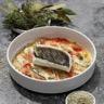 Filet de loup confit à l'huile d'olive et au sel de Camargue aromatisé farigoulette tian de légumes