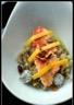 Filet de rouget mariné sur un lit de salade