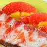 Filet de sole en robe de jambon ibérique farce aux olives noires d''Espagne et salade d''agrumes