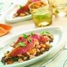 Filets de rouget en escabèche haricots blancs et lentilles en salade