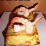 Flans de poireaux aux crevettes et crème de parmesan