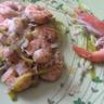 Fondue de poireau aux crevettes gratinée
