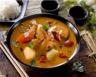 Gambas et noix de coquilles St Jacques au curry
