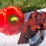 Gâteau fondant au poivron rouge confit piment d'espelette et chocolat noir