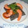 Gaufre noire et sa bisque de homard