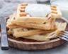Gaufres à la mozzarella jambon fumé relevées au basilic