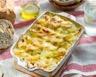 Gratin de panais-pommes de terre sur lit de lardons