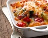 Gratin de pâtes au poulet courgette et tomate