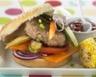Hamburger minceur au veau et légumes grillés