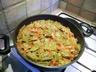 Haricots plats à la tomate et au lard
