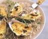 Huîtres gratinées au court bouillon et au champagne