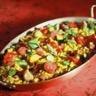La paella de légumes du moment duo de riz de Camargue safrané
