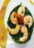 Langoustines sautées sur polenta et épinards sauce Noilly Prat