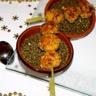 Lentilles tièdes au vinaigre de framboise et sa brochette de boudin blanc panée au pignon