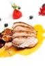 Magret de canard aux pêches et au miel d'acacia