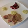 Magret de canard poires au vin rouge accompagnés d'une sauce au roquefort