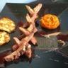 Magret de canard sauce porto et galettes de pommes de terre au laguiole ! Pour 4