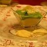 Méli-mélo de crème de chou-fleur et de brocoli et ses tuiles au fromage