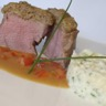 Mignon de porc-viennoise de champignons purée 'Grand Mère' jus relevé au poivron...