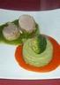 Mignonnettes à la mousse de brocolis en rouge et vert