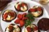 Mille-feuille chocolaté au crabe et tomates confites