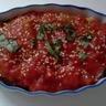 Mille-feuilles de jambons cuit et sec et légumes