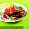 Mille-feuilles de jambons cuit et sec légumes grillés