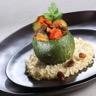 Mini courgette ronde farcie de Tajine de légumes grillés