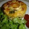 Minis clafoutis aux courgettes et tomates marinées et fromage de chèvre
